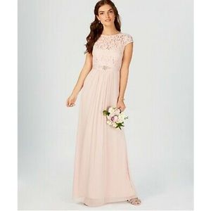 NWT lace capped sleeve, chiffon gown